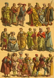 16th Century Netherlands Costumes. Engraved by Fr.Hottenroth and published in Trachten, Haus, Feld und Kriegsgerathschaften der Volker alter und neuer Zeit, Germany, 1890.