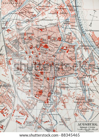 19th century old map of Augsburg. Picture from the original Meyer Lexicon book edition 1908.