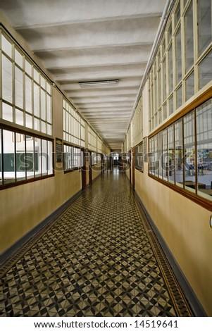 19th century school corridor with a strong perspective