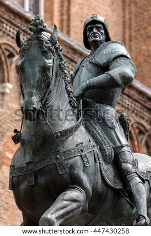 15th century statue of Bartolomeo Colleoni the famous condottiere or commander of mercenaries in Venice, Italy #447430258