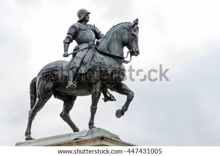 15th century statue of Bartolomeo Colleoni the famous condottiere or commander of mercenaries in Venice, Italy #447431005