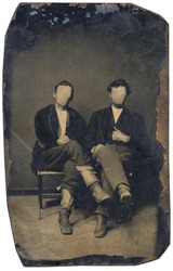 19th Century Tin Type Photography, Faces Cloned Out