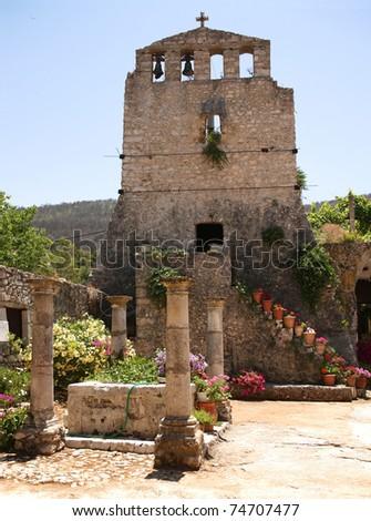 15th Century tower in the Virgin Anafonitria Monastery, on the Greek island of Zakynthos