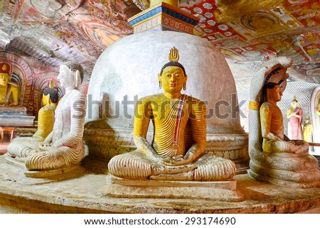 5th Century Wall Paintings And Buddha Statues At Dambulla Cave Golden Temple. Dambulla Cave Golden Temple Is The Largest And Best Preserved Cave Temple Complex In Sri Lank