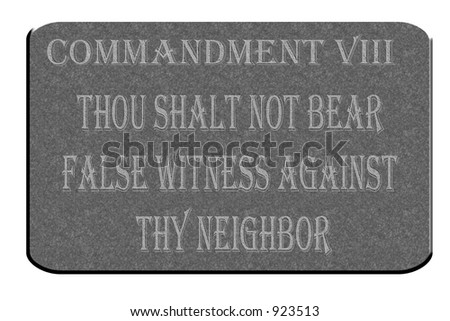 8th Commandment etched in stone and isolated on a white background