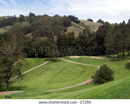 16th hole at Tilden Golf Course in Berkeley, California. The hole is a par 3, 206 yard hole from an elevated tee and green, protected by two traps.It features newly renovated drainage and irrigation that facilitates year-round play.