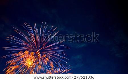 4th July fireworks. Fireworks display on dark sky background.