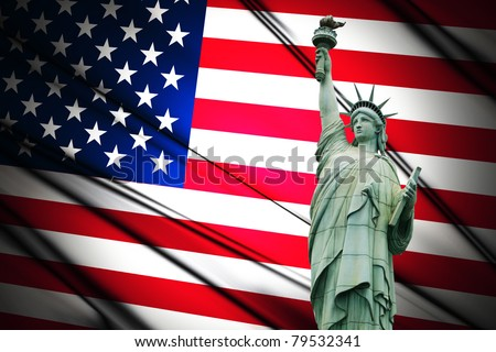 4th July Independence day of United States of America. Statue of Liberty and American flag