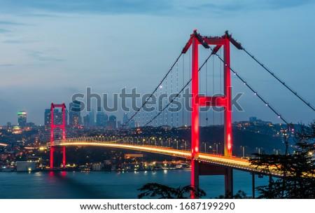 Photo of  15th July Martyrs Bridge (15 Temmuz Sehitler Koprusu). Istanbul Bosphorus Bridge at night. Istanbul, Turkey.