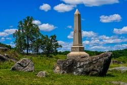4th Maine Volunteer Infantry Regiment Monument, Devils Den, Gettysburg National Military Park, Pennsylvania USA