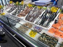 24th March 2019, Istanbul, Turkey. Food stall selling fresh fish