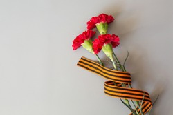 9th May. red carnations and St. George ribbon. free space for text