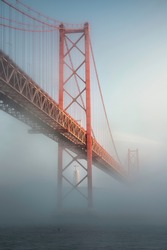 25 th of April Bridge during a foggy day in Lisboa, Portugal