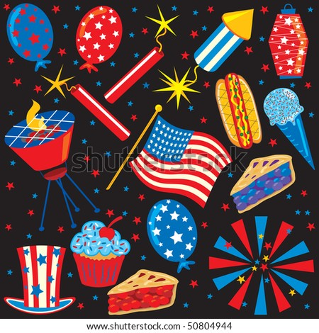 4th of July party elements and icons