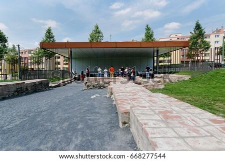 28th of June 2017 in Berlin, Germany: The Berlin Wall Memorial #668277544