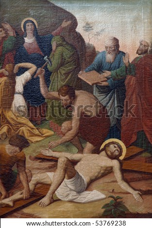 11th Stations of the Cross, Crucifixion: Jesus is nailed to the cross