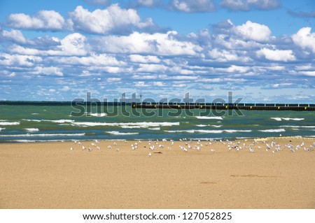 57th Street Beach, one of the beaches located on the shores of lake Michigan (Chicago, Illinois).