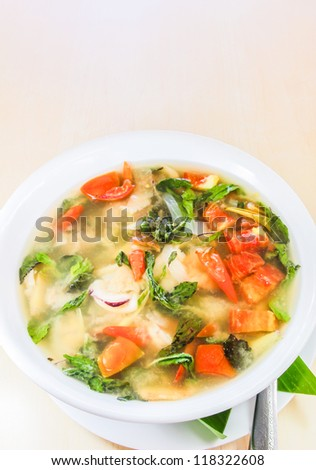 Thai food, spicy and sour seafood soup
