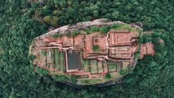 the amazing Lion Rock in Sigiriya, Sri Lanka. Aerial view of the tropical forest from the top