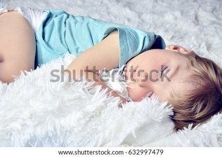 The baby is asleep. Sweet baby sleep Stock photo ©