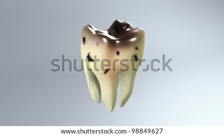 The bad of tooth for remind the tooth care concept.