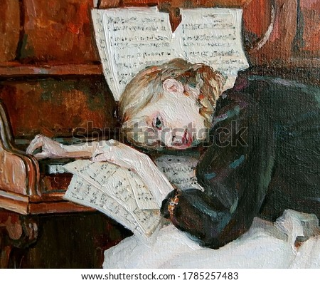 The beautiful girl was a little tired after playing the piano. Created in details and color nuances, oil painting on canvas.  Photo stock ©