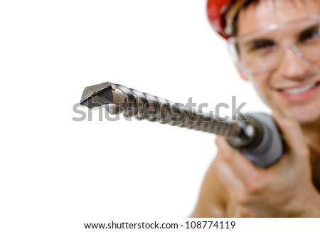 the beauty worker driller man  close up,   wield with  perforator, on white background, isolated
