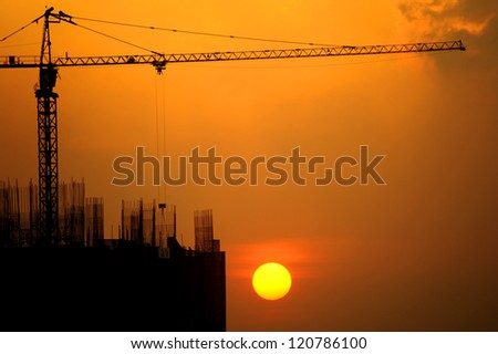 The building construction with sunset