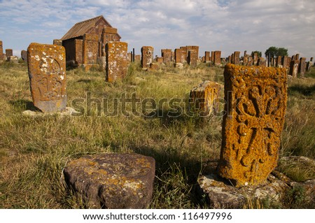 The cemetery of Noratus with more than 900 khachkhars, Armenia