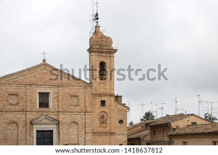 "The church of Monte Morello in the historic square of ""Sabato del villaggio"" (Saturday of the village) in the historical center of Recanati, Marches, Italy"