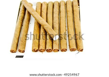 the cigars are in a box isolated on white. Welcome! More similar images available.