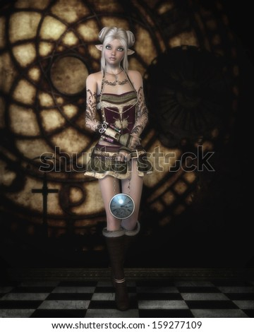 \'The Clock Watcher\', digital illustration of a strange but cute little steampunk pixie, standing guard inside a clock tower, holding a timepiece of her own.