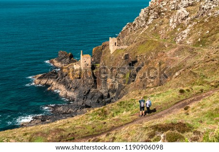 The Crowns Engine Houses, Botallack Tin mines in Cornwall Uk England.. Old tin mine ruins on cornwalls coastal path. Old Wheal also a Poldark film location.