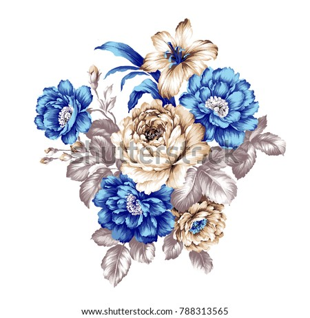 The deformation of flowers, the leaves and flowers art design