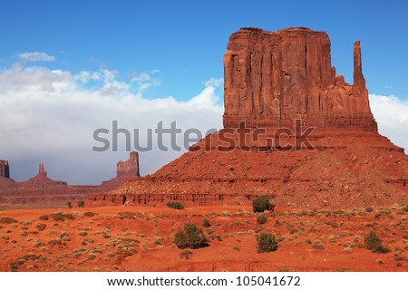 The famous cliffs Mittens in Monument Valley. Navajo Reservation in the U.S. Red Desert