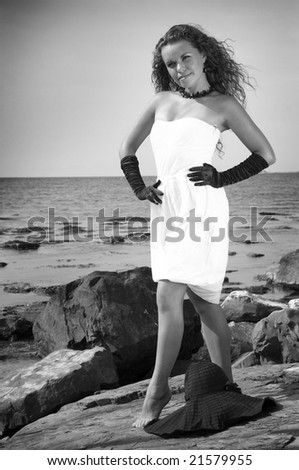 The girl by the sea ( black /white)