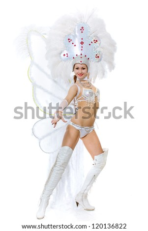 The girl in clothes for a carnival has beautifully risen
