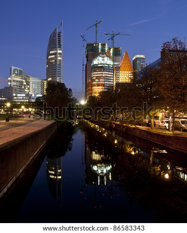 The Hague skyline reflected at dusk
