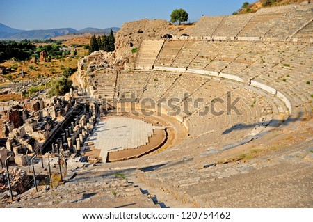The impressive ruins of the ancient Theater in Ephesus, Turkey. It is believed to be the largest outdoor theater in the ancient world
