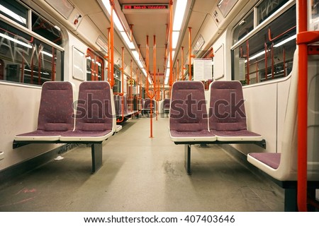 the interior of the subway ...