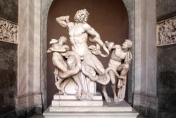 The Laocoon group: famous sculpture at the Vatican / Italy