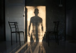 The man's shadow stood in the door on the wall.