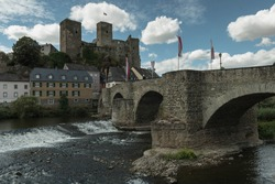 The medieval castle Runkel with the historical Lahn Bridge in Runkel, Hesse