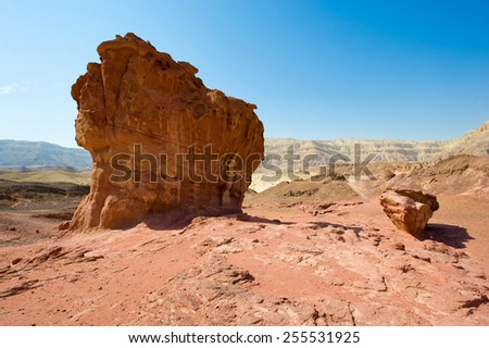 'The Mushroom and a Half' rock formation at Timna Park in the southern negev desert in Israel #255531925