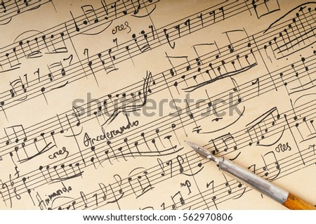 The music manuscript, written with pen and ink #562970806
