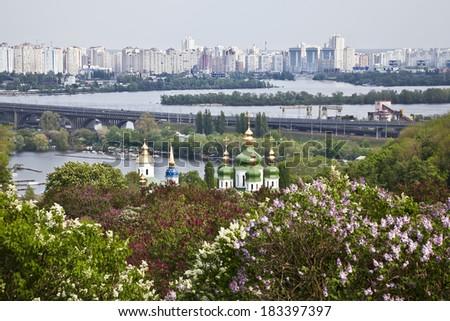 The panorama of Kiev and Vydubitskiy monastery . Ukraine