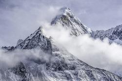 the peak of the Ama Dablam massif - Everest region, Nepal Himalayas