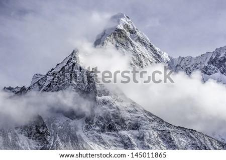 the peak of the Ama Dablam massif - Everest region, Nepal Himalayas #145011865
