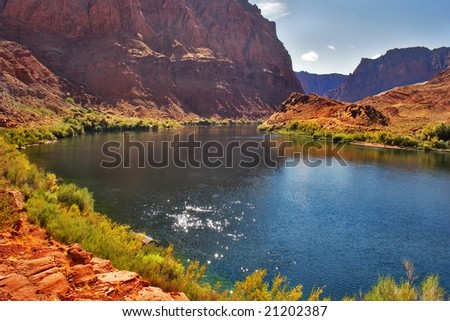 The picturesque river Colorado on the average current