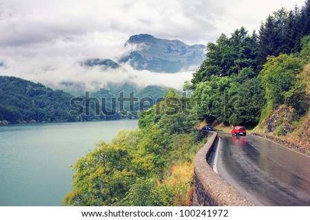 The road near the lake in Italy